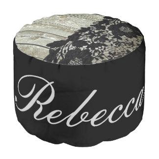 rustic bohemian girly barn wood vintage black lace pouf