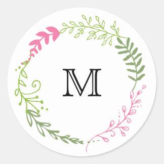Rustic Bohemian Spring Foliage Wreath Wedding Round Sticker
