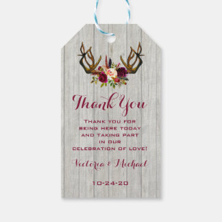 Rustic Boho Antlers thank you favor gift tags