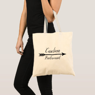 Rustic Boho Arrow Personalized Bridesmaid Tote Bag