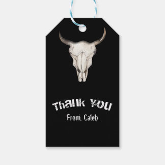 Rustic Boho Bohemian Cow Bull Birthday Party Favor Gift Tags