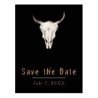 Rustic Boho Bohemian Cow Bull Save the Date Postcard