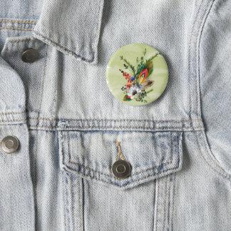 "Rustic boho ""boutonniere"" 6 cm round badge"