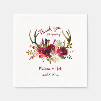 Rustic Boho Burgundy Floral antlers wedding decor Paper Serviettes