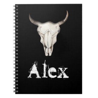 Rustic Boho Cow Bull Horns Western Country Notebook