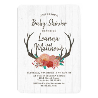 Rustic Boho Deer Antlers Baby Shower Invitation