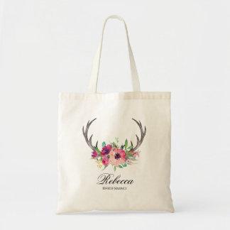 Rustic Boho Floral Antlers Wedding Bridesmaid