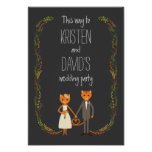 Rustic Boho Forest Cats Wedding Invitation Poster