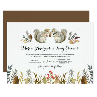 Rustic Boho Forest Squirrels Watercolor Wedding Card