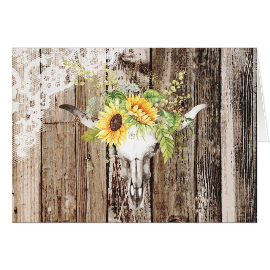 Rustic Boho Longhorn Sunflower Wood Lace Thank You Card