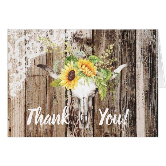 Rustic Boho Longhorn Sunflower Wood Lace Thank You Card