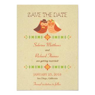 Rustic Boho Lovebird Owl Couple Wedding Card