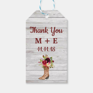 Rustic Boho Marsala Floral Wood Thank You Favor Gift Tags