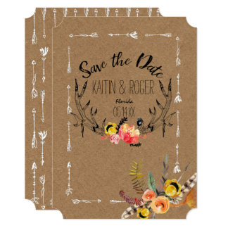 Rustic Boho Save the Date Card
