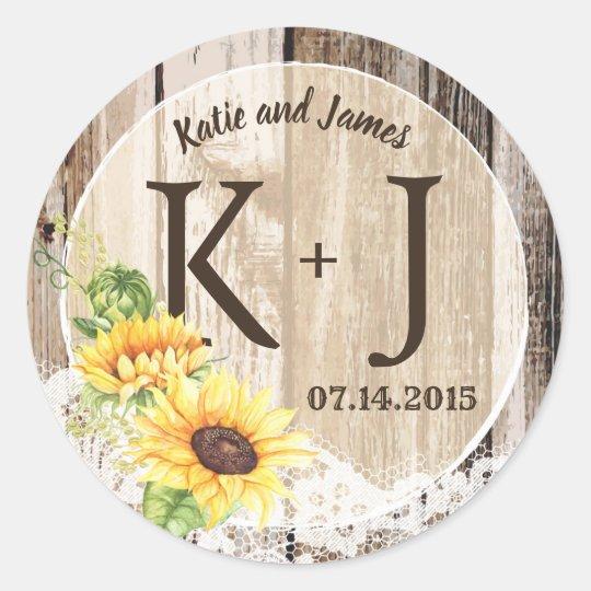 Rustic Boho Sunflower Lace Monogram Wedding Classic Round Sticker