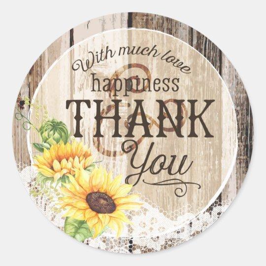 Rustic Boho Sunflower Lace Thank You Wedding Classic Round Sticker