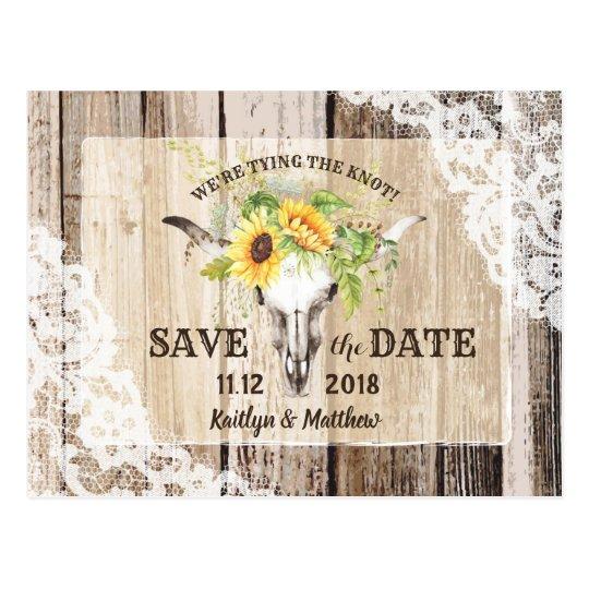 Rustic Boho Sunflower Longhorn Lace Save the Date Postcard