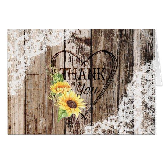 Rustic Boho Sunflowers Wood Lace Thank You Card