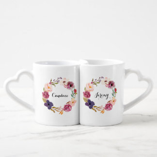 Rustic Boho Watercolor Floral Wreath Personalized Coffee Mug Set
