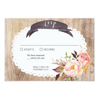 Rustic Boho Watercolor Flowers Wood RSVP Card