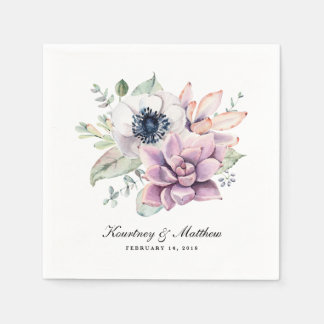 Rustic Boho Watercolor Succulent Floral Disposable Serviettes