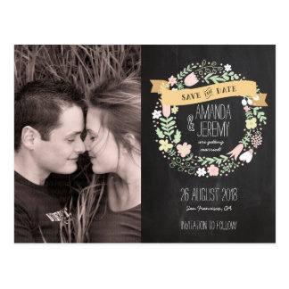 Rustic Boho Wreath Chalkboard Photo Save the Date Postcard