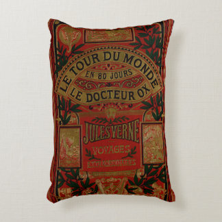 Rustic Book Cover Cushion Jules Verne