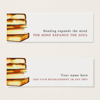 Book shop business cards business card printing zazzle rustic books bookmark mini business card reheart Choice Image