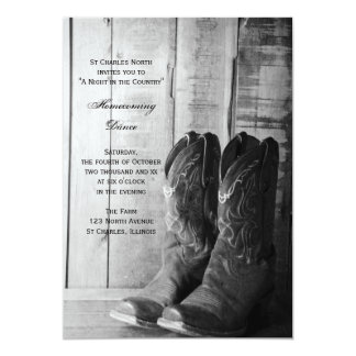 Rustic Boots Country Homecoming Dance Invitation