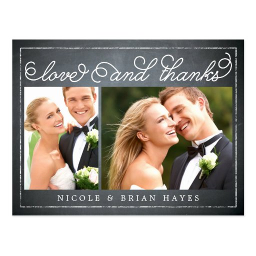 Rustic Border Wedding Thank You Card - Chalkboard Postcards