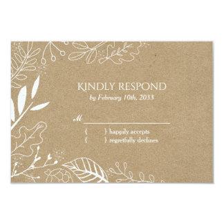 Rustic Botanical Backyard Wedding RSVP Card