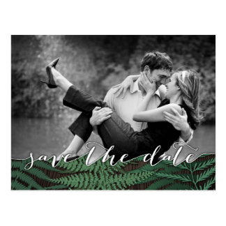 Rustic Botanical Fern Photo Save the Date Cards Postcard