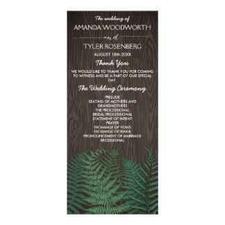 Rustic Botanical Fern Woodland Wedding Programs Customised Rack Card