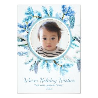 Rustic Botanical Snowy Winter Wreath Holiday Photo Card
