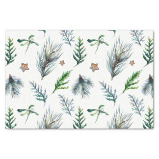 Rustic Botanical Woodsy Pine Tree Leaves Tissue Paper