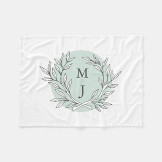 Rustic Bough Wreath Monogrammed Blanket