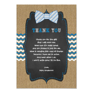 Rustic Boy Baby shower poem thank you note Card