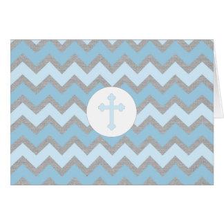 Rustic Boy Baptism thank you card, blue gray Card