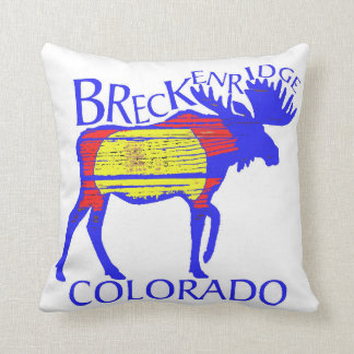 Rustic Breckenridge Colorado flag moose pillow