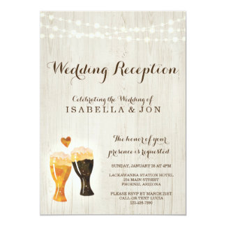 Rustic Brewery Wedding Reception Only Invitation