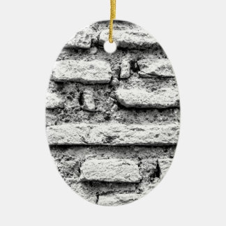 Rustic brickwall ceramic oval decoration