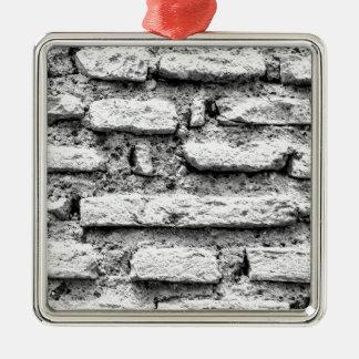 Rustic brickwall Silver-Colored square decoration