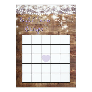 Rustic Bridal Shower Bingo Game Card