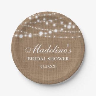Rustic Bridal Shower Burlap String Lights Paper Plate