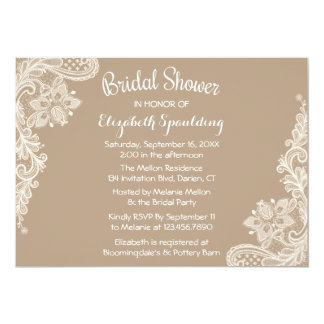 Rustic Bridal Shower Floral Lace Brown & White 13 Cm X 18 Cm Invitation Card