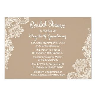 Rustic Bridal Shower Floral Lace Brown & White 13 Cm X 18 Cm Invitation Card