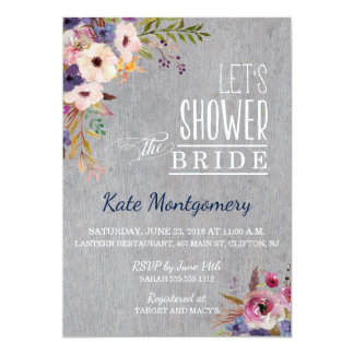 Rustic Bridal Shower flowers on gray wood Card