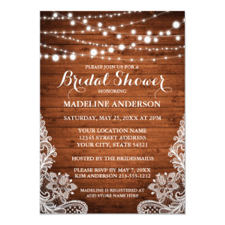 Rustic Bridal Shower Wood String Lights Lace Card