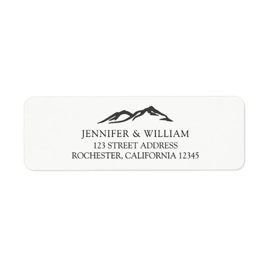 Rustic Bride and groom mountain wedding Return Address Label