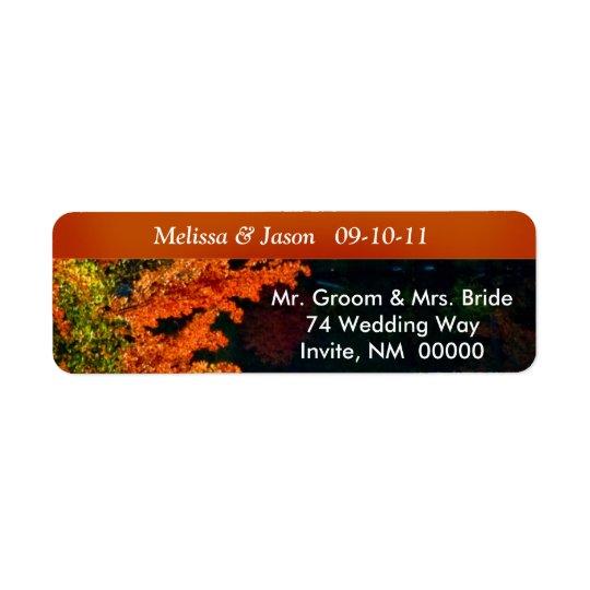 Rustic Bride Groom Fall Foliage Wedding Invite Return Address Label